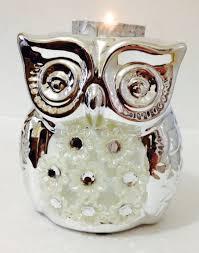 silver floral diamante owl tea light holder 12cm tall lp29443