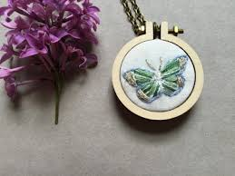 butterfly gifts embroidered butterfly jewelry mini hoop necklace embroidery