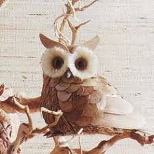 timber owl ornament corn husks pine cone petals twigs and more