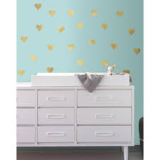 roommates 5 in w x 11 5 in h gold heart 24 piece peel and stick h gold heart 24 piece peel and stick wall decal rmk3074scs the home depot