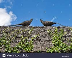 thatch pheasant ornaments on roof of thatched cottage wherwell