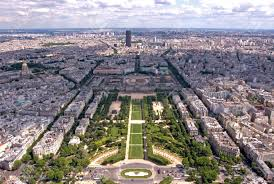 a view of paris from the 2nd floor of the eiffel tower stock photo
