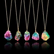 natural stone necklace pendant images Rainbow natural stone necklaces vintage jewelries store jpg