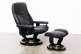 ekornes stressless leather reclining chair with ottoman vintage