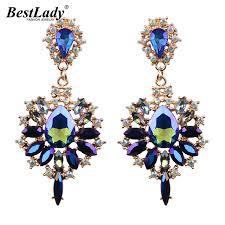 lade luxo best luxo bohemian brincos de cristal do casamento de noivado