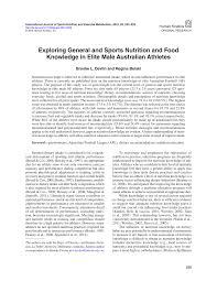 exploring general and sports nutrition and food knowledge in elite