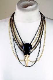 animal gold necklace images Real animal skull necklace matte black and 24 karat gold leaf