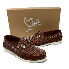 christian louboutin brown silver signature king boat vachette