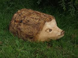 garden sculpture wooden animals ornamental hedgehog
