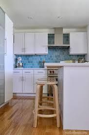 Blue Kitchens With White Cabinets Diy Kitchen Turquoise Blue Backsplash White Shaker Cabinets