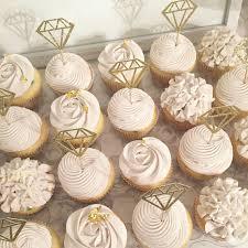 diamond party supplies bridal cupcakes rustic shower hydrangea roses diamond ring