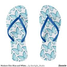 modern chic blue and white butterfly pattern flip flops durable