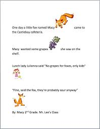 first grade narrative writing lesson fox and grapes k 5
