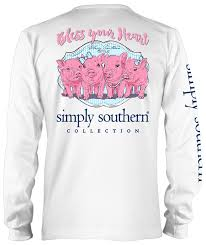 simply southern god country and family tee peach simply