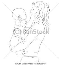 vector clipart of mother and her baby sketch hand drawn