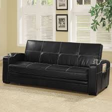 shop coaster fine furniture black vinyl futon at lowes com