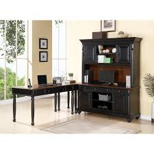 Computer Desks With Hutch by Black Wooden Computer Desk With Hutch And Dark Brown Top Also