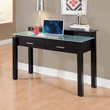 Wood Desk Accessories by Rectangle Black Wooden Desk With Double Drawer And White Glass Top