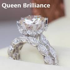5 carat engagement ring luxury vintage solid14k 585 white gold 5 carat cushion cut