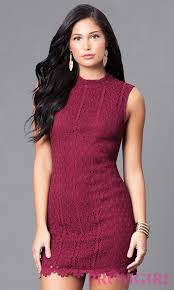 cheap wine red lace holiday party dress promgirl
