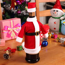 set christmas decoration red wine bottle covers clothes with hats