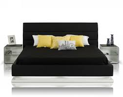 infinity contemporary black platform bed w lights