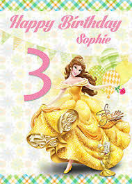 disney princess personalised happy birthday card any name