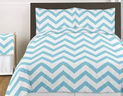 Light Blue Twin Comforter Turquoise Blue White Large Chevron Print 4pc Bedding Set Zig Zag