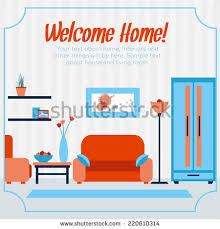 welcome home interiors living room interior furniture flat design stock vector 721162027