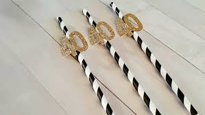 40th Bday Decorations 40th Birthday Decorations 40th Birthday Straws 40 Straws Black