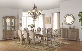 acme chelmsford antique taupe beige fabric dining set 66050 ebay picture 1 of 1