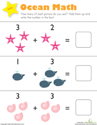 addition ocean math worksheet education com