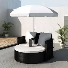 Wicker Beds Wicker Outdoor Day Bed Lounge Set W Parasol Black Buy 2 Seat Sets