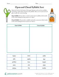syllabication open and closed syllables lesson plan education com