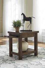 End Table With Shelves by Ashley T862 7 Windville Chair Side End Table With Shelf In Dark Brown