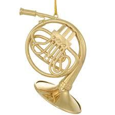 gold metal horn ornament ornaments