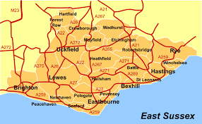 map of east uk of east sussex