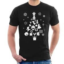 super mario bros christmas tree silhouette white men u0027s t shirt
