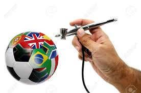 Painting A Flag Hand With Airbrush Painting World Cup Country Flags In A Soccer