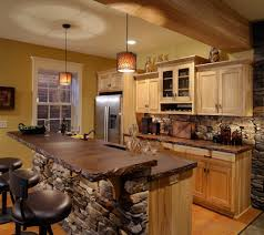 rustic country kitchens dark brown painted cherry island beige