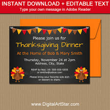 thanksgiving chalkboard printables editable invite digital
