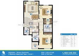 2 Bedroom Plan by Floor Plans Of Al Ghadeer