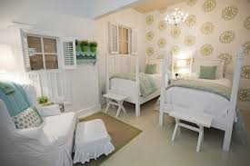 teen girls twin beds bedroom farmhouse with window shutters down