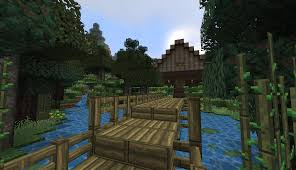minecraft log cabin in a forest