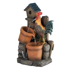 wholesale rustic country fountain rooster getting a drink water