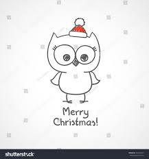 cute christmas owl vector illustration handwritten stock vector