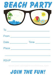 beach party invitation free printable party invites from www