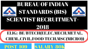 bis bureau bis bureau of indian standards scientist b recruitment 2018 109