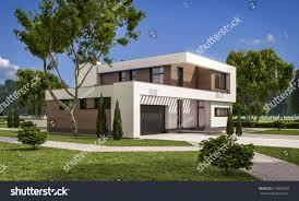 3d rendering modern cozy house garage stock illustration 519386320