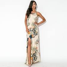 fashion women maxi dress floral print side split crew neck